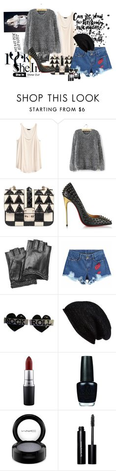 """""""She In Rock"""" by claire86-c ❤ liked on Polyvore featuring H&M, Valentino, Christian Louboutin, Karl Lagerfeld, Halogen, MAC Cosmetics, OPI, Bobbi Brown Cosmetics, women's clothing and women"""