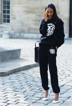 matching sweater and tracksuit with white pumps