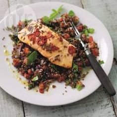 Recipe photo: Kick-ass salmon on red quinoa tabbouleh