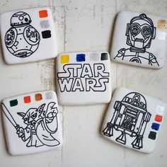 Starwars PYO cookies great activity for all the end of school year parties. A original idea. Star Wars Birthday, Star Wars Party, Starwars Bb8, Cookie Decorating, Decorating Ideas, Paint Cookies, Icing Colors, End Of School Year, Custom Cookies