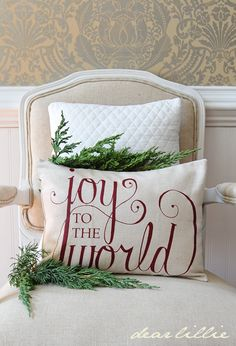 Back in Stock! Joy to the World 12x16 Pillow Cover in Cranberry