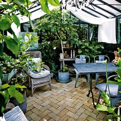 Winter Greenhouse, Greenhouse Wedding, Greenhouse Gardening, Greenhouse Ideas, Porches, What Is A Conservatory, Victorian Conservatory, Tea Room Decor, Side Yard Landscaping