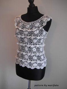 """Crochet pattern """"ruffle blouse"""" by marifu6aSkill Level: Intermediate.Size: S-M, L-XLYarn: cotton 100gr (Nr.12) Hook: 1.75mmS: 100gr"""