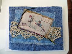 using photo from the Graphics Fairy, quilted fabric note card