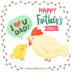 Father's day background with watercolor farm animals Free Vector