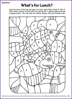 Fill in Picture of Loaves and Fishes (Coloring Activity) - Kids Korner - BibleWise