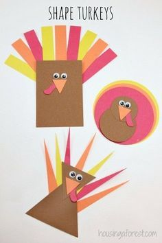 Shape Turkey! Simple toddler Thanksgiving activity that helps with shape recognition.