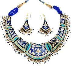 bonk ibiza blueish choker with 22k gold plated shell and pearls