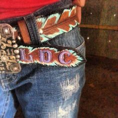 Native Spirit Hand Tooled Feathers Western Belt by JazzyTack, $125.00