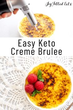 You won't believe that you can make this Keto Creme Brulee with just 5 simple ingredients. It's classy, elegant, and filled with traditional flavors that are utterly irresistible. Enjoy this treat as part of a keto, low carb, gluten-free, or grain-free diet. Low Sugar Recipes, No Sugar Foods, Keto Recipes, Dessert Recipes, Free Recipes, Desserts For A Crowd, Low Carb Desserts, Creme Brulee Dishes, Brulee Recipe