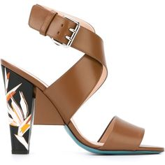 Fendi Paradise Flower Sandals (€830) ❤ liked on Polyvore featuring shoes, sandals, brown, ankle strap sandals, strap sandals, leather sandals, brown leather sandals and open toe sandals
