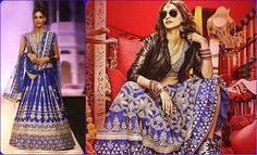 Sonam Kapoor, in Dolly ki Doli poster, wearing a royal blue bridal lehenga from Anita Dongre, paired with black aviators, sneakers and a black leather jacket. Not to forget the mangalsutra, maang-tikka, and wedding bangles; & boy, does she make a snazzy style statement!?