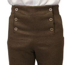 Our Fall Front Trousers in Fawn Brown are really something to flap about! Since zippers weren't around centuries ago, this style of pant provides a totally distinctive look from modern clothing.  Don this fine garment and quickly have the elegance of a Regency gentleman. First gaining popularity during the French Revolution (1790s), this style of trouser became a staple in men's fashion throughout the mid 1800s. This particular pair has been improved with modern-day touches such as a hidden…