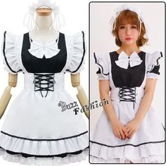Cosplay Palace Girls Fancy Dress Black Mixed White Lolita Maid Outfit  Costume  Uniform Maid Outfit 1cad4c7bc162