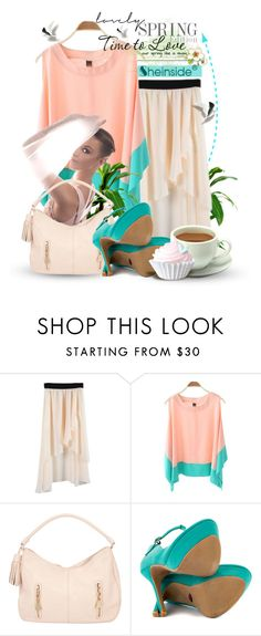 """""""Spring Time Girls!"""" by keti-lady ❤ liked on Polyvore featuring See by Chloé, Promise Shoes, chiffon skirts, turquoise, pastels, 2013, heels, shirts, handbags and apricot"""
