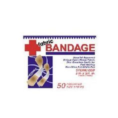 50 Pack Fabric Bandages. by bulk buys. $58.80. Box of 50 fabric sterile bandage strips. They are soft, flexible and made with a unique open weave fabric. Helps skin breathe easily for fast healing. Non-stick with full width pad.