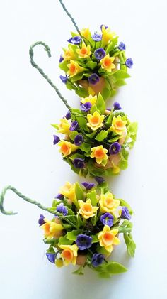 Miniature Polymer Clay Flowers Supplies Hanging Pot, Daffodil for Dollhouse 1 pcs  Flowers are made from polymer clay  - Violet Pansys width: