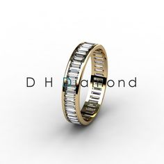 Channel Set Baguette Diamond Eternity Ring with Natural Diamonds VVS-EF, 14K Yellow Gold or White or Rose. USD 1318.(IND Rs. 86,050/-)