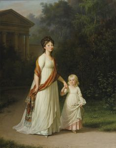 JUEL, Jens Jørgensen Marie-Sophie-Frederikke, Princess of Denmark and her Daughter, Princess Caroline c. 1800 Oil on canvas, 96 x 75 cm Private collection Historical Costume, Historical Clothing, Empire Style, Turbans, Mother And Child, Madame, Fashion Plates, Fashion History, Photo Art