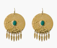Hipanema Boucles d'oreilles Ely Gold Ipanema pas cher prix Boucles d'oreilles Monshowroom 75.00 € Monshowroom, Pierre Turquoise, 14 Carat, Ely, Crochet Earrings, Jewelry, Ears, Boucle D'oreille, Locs