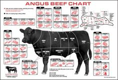 Parts of beef.  Nice detail on this but kind of hard to see!
