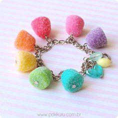 pulseira jujubas, balas de goma - gummy candy charm barcelet, miniature gumdrops in polymer clay - pokkuru - doceria de bijoux