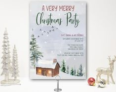 Charming woodland Christmas Party Invitation with a rustic winter country scene featuring a cabin and trees. Christmas Dinner Invitation, Ward Christmas Party, Christmas Cocktail Party, Christmas Open House, Christmas Party Invitations, Christmas Cocktails, Dinner Invitations, Digital Invitations, Birthday Party Invitations