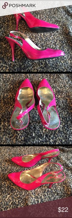 Guess Hot pink high heel stilettos Has somewhere, hence the price, but not very noticeable and super hot! Guess Shoes Heels