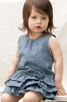 so sweet Rabbit Moon soft Denim Tank Dress Fashion Kids, Little Girl Fashion, Little Girl Dresses, Girls Dresses, Flower Girl Dresses, Baby Outfits, Kids Outfits, Toddler Dress, Baby Dress