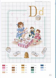 Vintage Children with Alphabet Cross Stitch Pattern undefined Cross Stitch Letters, Cross Stitch For Kids, Cross Stitch Kitchen, Just Cross Stitch, Cross Stitch Art, Cross Stitch Samplers, Cross Stitch Designs, Cross Stitching, Cross Stitch Embroidery