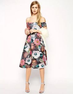 Vogue Sexy Flowers Printed Boat Neck off Shoulder Dress LP15031109.http://www.clothing-dropship.com