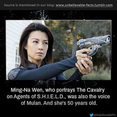 Ming-Na Wen, who portrays The Cavalry on Agents of S., was also the voice of Mulan.s 50 years old. Sam Smith, Melinda May, Ming Na Wen, Matchbox Twenty, Wicked Game, Marvels Agents Of Shield, Country Music Singers, Kellin Quinn