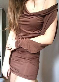Kup mój przedmiot na #vintedpl http://www.vinted.pl/damska-odziez/krotkie-sukienki/9650095-brazowa-sukienka-tunika-36-oryginalna-asymetryczna