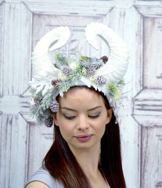 Your place to buy and sell all things handmade Fairy Makeup, Mermaid Makeup, Makeup Art, Fantasy Hair, Fantasy Makeup, Snow White Queen, Snow Queen, Cosplay Horns, High Fashion Makeup