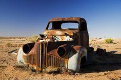 Derelict truck near Farina ghost town, Lyndhurst-Marree road.