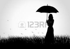 umbrella silhouette: Silhouette illustration of a girl with umbrella on grass field