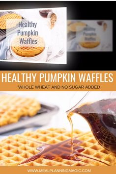 Celebrate fall flavors with these delicious Healthy Pumpkin Waffles. Made with whole wheat flour and NO added sugar, they are perfect for breakfast or brunch! Bonus: they freeze well too…  More Healthy Waffles, Pumpkin Waffles, Magic Recipe, Make Ahead Meals, Healthy Pumpkin, Pumpkin Recipes, Freeze, Appetizer Recipes, Real Food Recipes