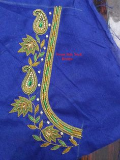 Indian Traditional Handloom Sarees: Maggam Work Blouse with Glod beads Hand Work Blouse Design, Simple Blouse Designs, Stylish Blouse Design, Fancy Blouse Designs, Bridal Blouse Designs, Blouse Neck Designs, Aari Work Blouse, Neckline Designs, Blouse Patterns