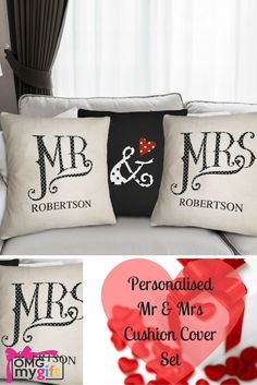 Personalised Cushion Covers.  Mr & Mrs Cushion Covers are an ideal Wedding Gift, or Wedding Anniversary Gift for the 2nd or Cotton Wedding Anniversary
