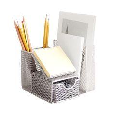 Tired of clutter but tight on space? This attractive mesh desk manager will help you get back on track with separate spaces for notepad, mail, pens, and small office supplies. Your to-do list just got ...  Find the Compact Mesh Organizer, as seen in the High-Speed Office Collection at http://dotandbo.com/collections/high-speed-office?utm_source=pinterest&utm_medium=organic&db_sku=DIM0082