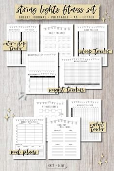 Bullet Journal FITNESS Set of printable planners – Insert templates Planner Inserts, Planner Template, Printable Planner, Printables, Bullet Journal, Printable Workouts, Strings, Fitness Tracker, String Lights