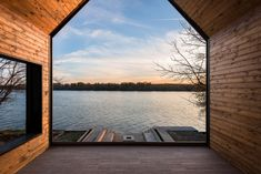 Located in Progar Ada, Serbia, this Small River House, designed by Remorker Architects in is an house, used as a vacation home. Lake George Village, Gate House, A Frame House, River House, Modern House Plans, House And Home Magazine, Rustic Design, Architecture Details, Deco