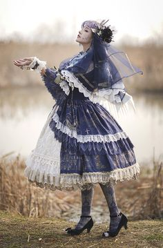 Miracles -The Shape of the Sea- Vintage Classic Lolita OP Dress,Lolita Dresses, Chic Outfits, Pretty Outfits, Pretty Dresses, Beautiful Outfits, Fashion Outfits, Scene Outfits, Emo Outfits, Women's Fashion, Dress Fashion