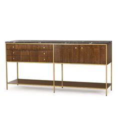 This Mid-Century inspired Console Table features a satin brass finished metal base, quartered walnut veneers and a honed black marble top highlighted with white veining.