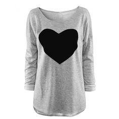 T-shirt Do Teste Padrão Do Coração Das Mulheres Grupo Manga Long Neck Tops