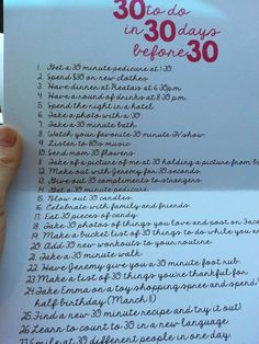 30th birthday: 30 things to do in 30 days before turning 30. A fun list!