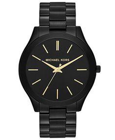 Michael Kors Women's Slim Runway Black-Tone Stainless Steel Bracelet Watch 42mm MK3221