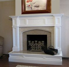 A furniture quality traditional wood fireplace mantel surround, the custom Oxford surround has an exquisite, rich appeal. View over-mantel option to frame a flat panel television.