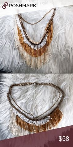 Free People Fringe Necklace • brand: free people  • condition: new  • size: long   • description: fringe necklace with chain detail  bundle to save! no trades/holds/try-ons. no price negotiations in the comments. always happy to work with offers.  ✨happy shopping!✨ Free People Jewelry Necklaces