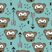 Little monkey friends inky arrows geometric animals design blue boys by littlesmilemakers, click to purchase fabric  - surface design by Little Smilemakers on Spoonflower - wallpaper inspiration for kids clothes fun fashion and trendy home decorations.